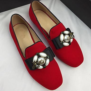 preiswerte Clearance-Damen Flache Schuhe Flacher Absatz Runde Zehe Perle Wildleder Sommer Schwarz / Rot