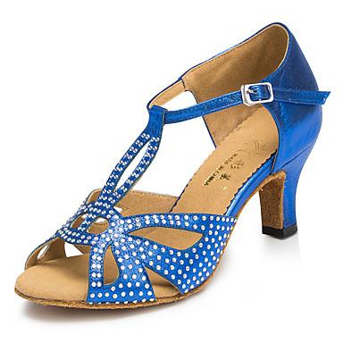 preiswerte Schuhe und Taschen-Damen Tanzschuhe Kunststoff Schuhe für den lateinamerikanischen Tanz Strass / Crystal / Strass / Seide aushöhlen Absätze Kubanischer Absatz Maßfertigung Blau / Leder