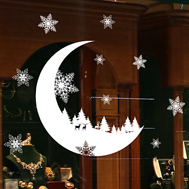 vindu glass diy snø måne veggen klistremerker hjem dekal