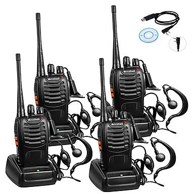 voordelige Walkie-talkies-4 stks baofeng bf-888s oplaadbare lange afstand 5 w 2800 amh twee manier radio walkie talkies 16 kanaals handheld radio ingebouwde led zaklamp microfoon met oortje (pakket van 4) 4 pak 1 van usb