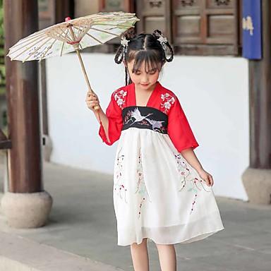Παιδικά Ρούχα Χορού Χανφού Κοριτσίστικα Επίδοση POLY Κέντημα 3/4 Μήκος Μανικιού Φόρεμα