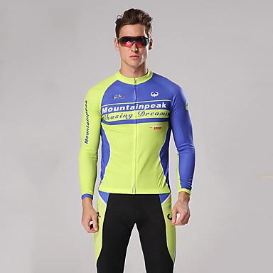 Mountainpeak Homens Manga Longa Calça com Camisa para Ciclismo Inverno Tosão Poliéster Elastano Azul + amarelo Moto Conjuntos Respirável Secagem Rápida Esportes Sólido Ciclismo de Montanha Ciclismo