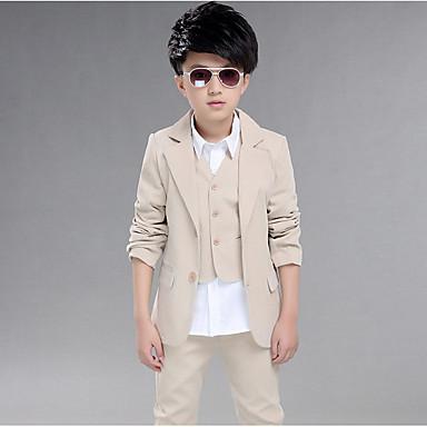povoljno Odjeća za dječake-Djeca Dječaci Osnovni Jednobojni Dugih rukava Pamuk Odijelo i sako Navy Plava