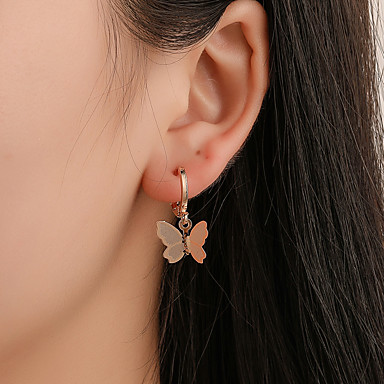 A PAIR GOLD TONE DANGLY BUTTERFLY   EARRINGS NEW.