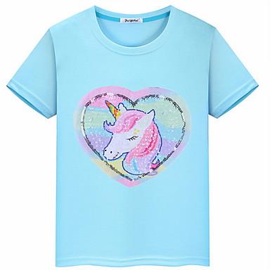 abordables Hauts Filles-Enfants Fille Basique Géométrique Manches Courtes Tee-shirts Jaune