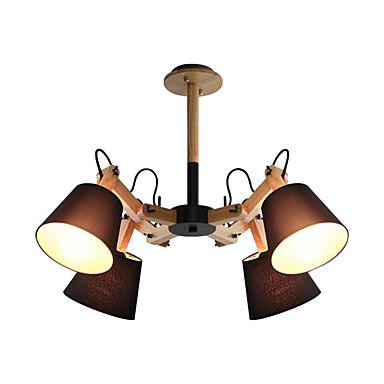 nordisk enkel anheng lett sputnik lysekrone 4 lamper taklampe semi-flush mount med swing armatur lampeskjerm omgivende lys malt ferdig tre