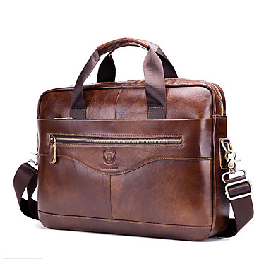 cheap BULLCAPTAIN®-(BULLCAPTAIN) Men's Leather Shoulder Crossbody Multifunction Portable Briefcase