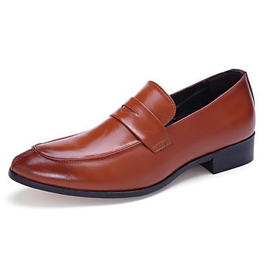 Ανδρικά Παπούτσια άνεσης PU Ανοιξη καλοκαίρι Δουλειά / Καθημερινό Μοκασίνια & Ευκολόφορετα Μη ολίσθηση Μαύρο / Καφέ / Μπορντώ