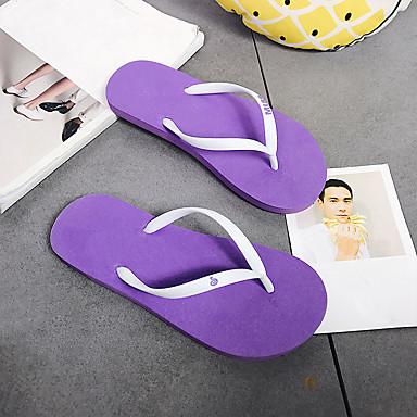 voordelige Damespantoffels & slippers-Dames Slippers & Flip-Flops Platte hak Open teen PVC Informeel Zomer Groen / Roze / Marine Blauw