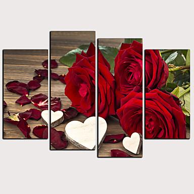 Estampado Laminado Impressão De Canvas - Floral / Botânico Clássico Modern 4 Painéis Art Prints