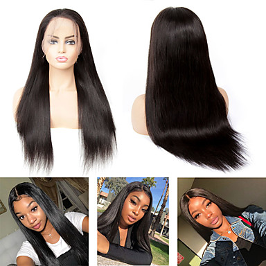 cheap Beauty & Hair-Human Hair Capless Wigs Human Hair Straight Side Part Style Party / Women / Best Quality Medium Length 6x13 Closure / Lace Front Wig Brazilian Hair Women's / Couple's