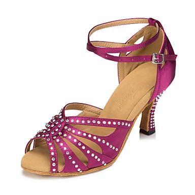cheap New Arrivals-Women's Dance Shoes Satin Latin Shoes Crystals Heel Slim High Heel Customizable Purple / Blue