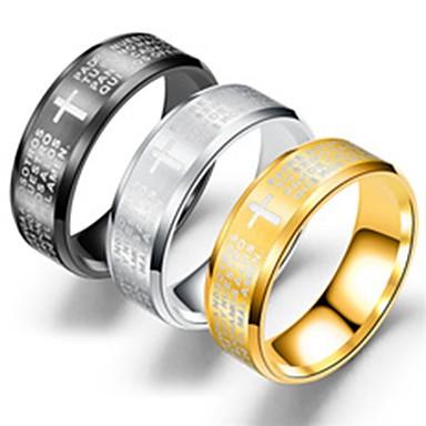 Herre Band Ring Ring Tail Ring 1pc Gull Svart Sølv Titanium Stål Sirkelformet Unikt design Grunnleggende Fest Gave Smykker Kors Kul