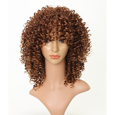 Syntetiske parykker Afro Afro Kinky Med lugg Parykk Kort Mørk Kastanjebrun Syntetisk hår 16 tommers Dame Fest Dame Ungdom Lysebrun Brun