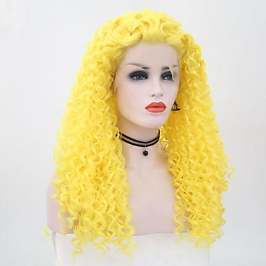 Blondeparykker med menneskehår Afro Kinky Bouncy Curl Midtdel Blonde Forside Parykk Nyanse Lang Gul Syntetisk hår 26 tommers Dame Dame Nyanse