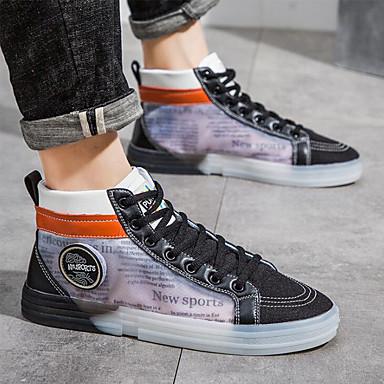 Homens Fashion Boots Lona / Com Transparência Primavera Verão Tênis Preto / Branco / Coturnos