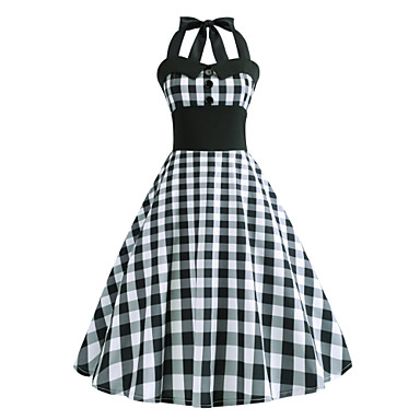 Audrey Hepburn Χωριατοπούλα Καρό Ρετρό / Βίντατζ Δεκαετία του 1950 Rockabilly Φορέματα Χορός μεταμφιεσμένων Γυναικεία Στολές Γκρίζο Πεπαλαιωμένο Cosplay Σχολείο Γραφείο Φεστιβάλ Αμάνικο Μεσαίου Μήκους