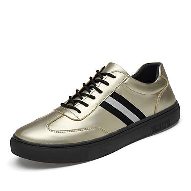 Ανδρικά Δερμάτινα παπούτσια Δερμάτινο Ανοιξη καλοκαίρι / Φθινόπωρο & Χειμώνας Αθλητικό / Καθημερινό Αθλητικά Παπούτσια Περπάτημα Μη ολίσθηση Χρυσό / Μαύρο / Ασημί