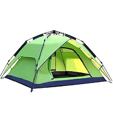 preiswerte Zelte & Unterkünfte-DesertFox® 3 Personen Automatisches Zelt Außen Wasserdicht Windundurchlässig UV-beständig Doppellagig Camping Zelt 2000-3000 mm für Camping & Wandern Polyester 180*210*118 cm