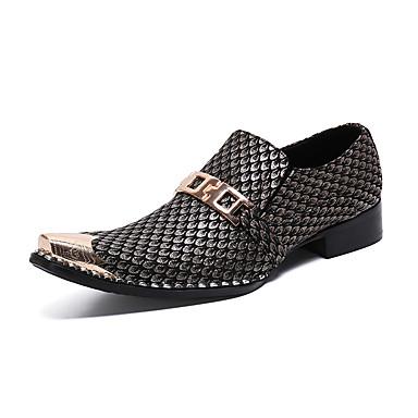 Herre Novelty Shoes Lær Vår sommer / Høst vinter Britisk En pedal Svart og Gull / Bryllup / Fest / aften / Bryllup / Fest / aften
