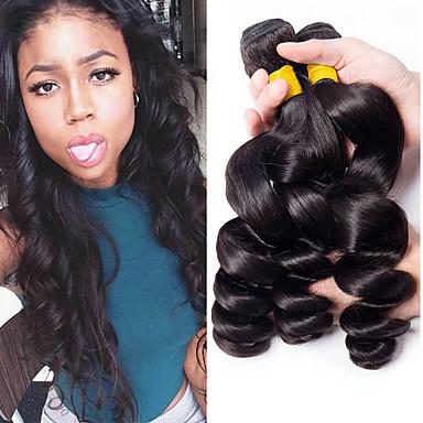 3 δεσμίδες Βραζιλιάνικη Χαλαρό Κυματιστό Αγνή Τρίχα 100% πακέτα Remy μαλλιών Τεμάχια Κεφαλής Υφάνσεις ανθρώπινα μαλλιών Προέκταση 8-28 inch Φυσικό Χρώμα Υφάνσεις ανθρώπινα μαλλιών