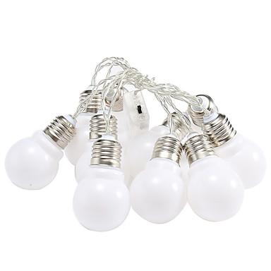 1,5 ίντσες Φώτα σε Κορδόνι 10 LEDs Θερμό Λευκό / Άσπρο / Πολύχρωμα Πάρτι / Διακοσμητικό / Χριστουγεννιάτικη διακόσμηση γάμου Μπαταρίες AA Powered 1set / IP44