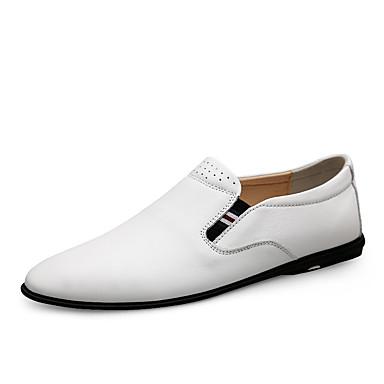 Ανδρικά Δερμάτινα παπούτσια Νάπα Leather Ανοιξη καλοκαίρι / Φθινόπωρο & Χειμώνας Καθημερινό / Βρετανικό Μοκασίνια & Ευκολόφορετα Περπάτημα Μη ολίσθηση Λευκό