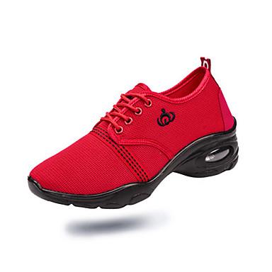 Γυναικεία Παπούτσια Χορού Δίχτυ Παπούτσια Χορού Αθλητικά Πυκνό τακούνι Μαύρο / Κόκκινο / Επίδοση