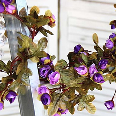 Kunstige blomster 1 Gren suspendert Moderne Moderne Roser kurv av blomster