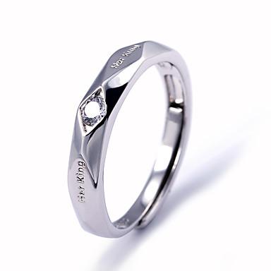 levne Pánské šperky-Pánské Band Ring Prsten Kubický zirkon 1ks Bílá Měď Geometric Shape stylové Jednoduchý Párty Dar Šperky Klasika Cool