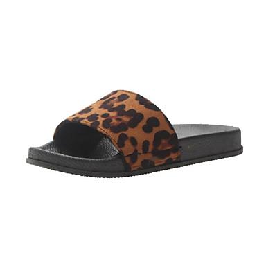 voordelige Damespantoffels & slippers-Dames Slippers & Flip-Flops Platte hak Polyester Lente Luipaard