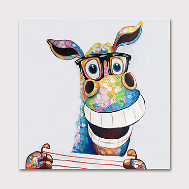 cheap Wall Art-Oil Painting Hand Painted - Animals Pop Art Modern Stretched Canvas