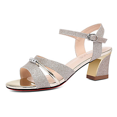 1181c8a341c [$41.99] Women's Sandals Block Heel Sandals Spool Heel Peep Toe Synthetics  Sweet / Minimalism Spring & Fall / Summer Gold / Silver