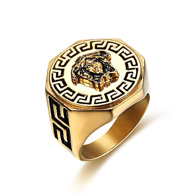 cheap Men's Rings-Men's Ring 1pc Gold Titanium Steel Geometric Stylish Gift Daily Jewelry Classic Courage Cool