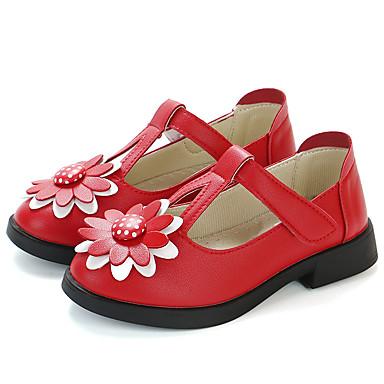 Κοριτσίστικα Λουλουδάτα φορέματα για κορίτσια PU Τακούνια Τα μικρά παιδιά (4-7ys) / Μεγάλα παιδιά (7 ετών +) Μαύρο / Κόκκινο / Ροζ Άνοιξη / Φθινόπωρο