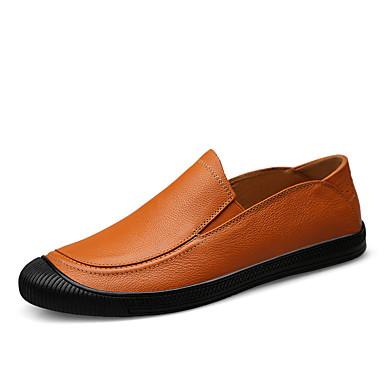 Ανδρικά Δερμάτινα παπούτσια Νάπα Leather Ανοιξη καλοκαίρι / Φθινόπωρο & Χειμώνας Δουλειά / Καθημερινό Μοκασίνια & Ευκολόφορετα Περπάτημα Μη ολίσθηση Μαύρο / Καφέ / ΕΞΩΤΕΡΙΚΟΥ ΧΩΡΟΥ