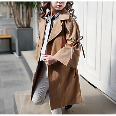 cheap Baby & Kids-Kids Girls' Active Sophisticated Solid Colored Lace up Long Cotton Trench Coat Khaki