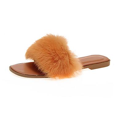 voordelige Damespantoffels & slippers-Dames Slippers & Flip-Flops Platte hak Imitatiebont Zomer Groen / Blauw / Roze