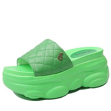 voordelige Damespantoffels & slippers-Dames Slippers & Flip-Flops Plateau PU Zomer Wit / Geel / Groen