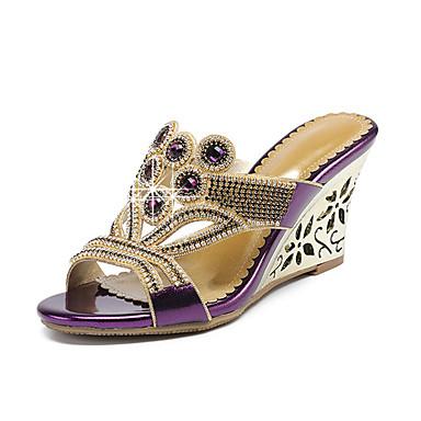 voordelige Damespantoffels & slippers-Dames Slippers & Flip-Flops Sleehak Open teen Strass PU Zomer Goud / Paars / Blauw