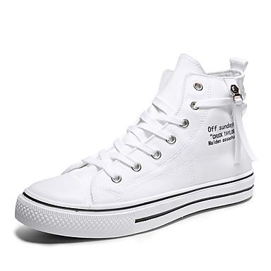 Homens Sapatos Confortáveis Lona Primavera Verão Formais / Colegial Tênis Não escorregar Preto / Branco / Ao ar livre