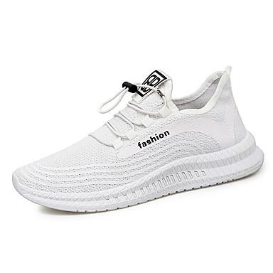 Ανδρικά Φως πέλματα Ελαστικό ύφασμα Ανοιξη καλοκαίρι Αθλητικό Αθλητικά Παπούτσια Αναπνέει Μαύρο / Λευκό