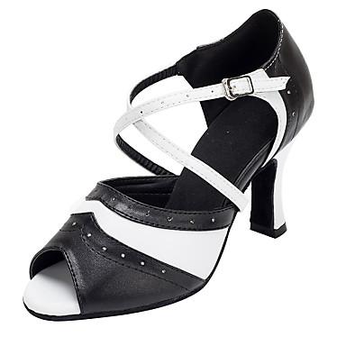 Női Dance Shoes PU Latin cipők Csat Magassarkúk Vastag sarok Személyre szabható Fekete / Fehér