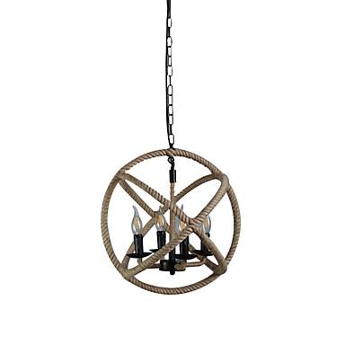 4-Light Lanterne Anheng Lys Hemp Rope Papir Nytt Design 110-120V / 220-240V
