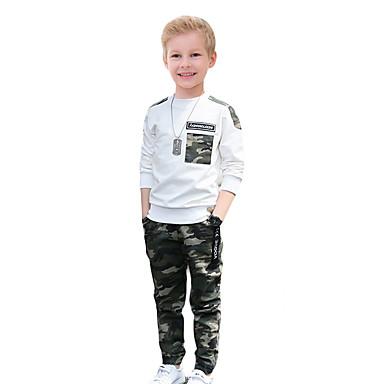 povoljno Odjeća za dječake-Djeca Dječaci Osnovni Print Dugih rukava Pamuk Komplet odjeće Obala