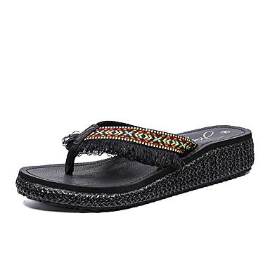 voordelige Damespantoffels & slippers-Dames Slippers & Flip-Flops Sleehak Open teen PU Informeel Wandelen Zomer Zwart / Khaki