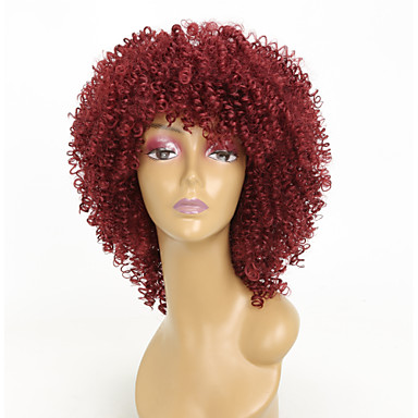 Συνθετικές Περούκες Afro Kinky Με αφέλειες Περούκα Μπορντώ Κοντό Μεσαίου Μήκους Καφέ / Βουργουνδίας Συνθετικά μαλλιά 15 inch Γυναικεία Περούκα αφροαμερικανικό στυλ Για μαύρες γυναίκες Μπορντώ