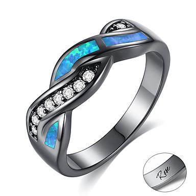 billige Motering-personlig tilpasset Blå Kubisk Zirkonium Ring Zirkonium Klassisk Indgraveret Gave Love Festival Bølger 1pcs Blå / Laser gravering