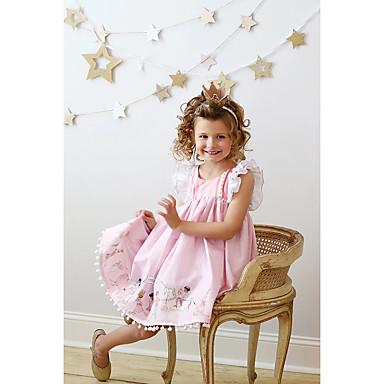 povoljno Najprodavanije-Djeca Djevojčice Aktivan Geometrijski oblici Print Bez rukávů Do koljena Haljina Blushing Pink