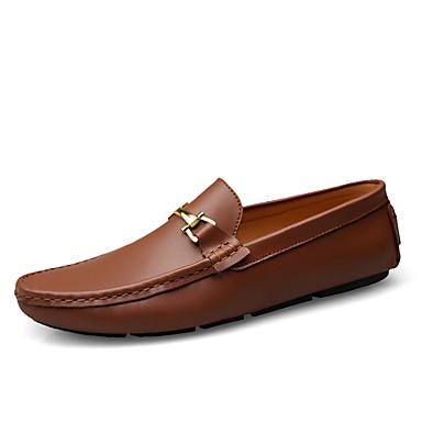 Ανδρικά Δερμάτινα παπούτσια Δέρμα Ανοιξη καλοκαίρι / Φθινόπωρο & Χειμώνας Κλασσικό / Καθημερινό Μοκασίνια & Ευκολόφορετα Αναπνέει Μαύρο / Ανοικτό Καφέ / Σκούρο καφέ / Πάρτι & Βραδινή Έξοδος